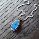 Emily Eliza Arlotte Handcrafted Fine Jewellery - Handmade Australian Tasmanian Opal Blue Green Pendant Sterling Silver Contemporary Dainty Modern Necklace Boho Bohemian Gypsy Witchy Style Fashion