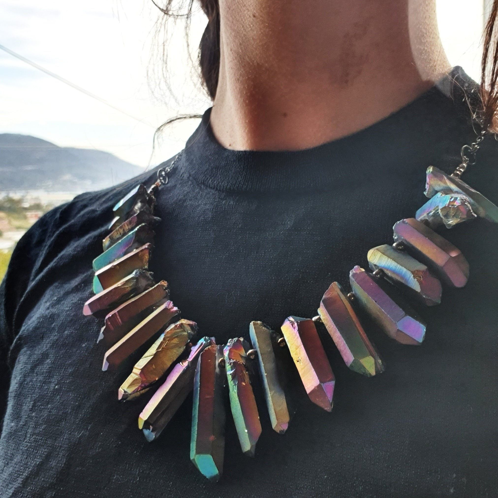 Emily Eliza Arlotte Handcrafted Fine Jewellery - Handmade Australian Tasmanian Jewelry Rainbow Quartz Electroplated Titanium Sterling Silver Neckpiece Necklace Contemporary Chunky Statement Unique Trendy Modern Necklace Boho Bohemian Gypsy Witchy Style Festival Fashion