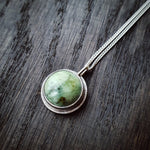 Emily Eliza Arlotte Handcrafted Fine Jewellery - Handmade Australian Tasmanian Jewelry Ethically Made Sustainable Recycled Sterling Silver Buttongrass Nephrite Jade Green Stone Gemstone Crystal Pendant Contemporary Dainty Statement Unique Trendy Modern Necklace Boho Bohemian Gypsy Witchy Alternative Style Festival Fashion