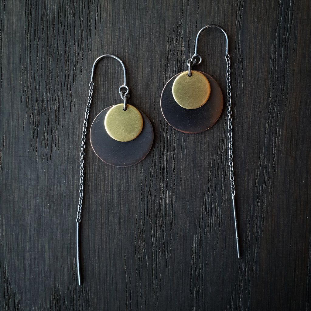 Emily Eliza Arlotte Handcrafted Fine Jewellery - Handmade Australian Tasmanian Jewelry Ethically Made Sustainable Recycled Sterling Silver Brass Copper Thread Chain Threader Earrings Celestial Circle Contemporary Chunky Statement Unique Trendy Modern Necklace Boho Bohemian Gypsy Witchy Alternative Style Festival Fashion
