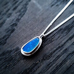 Emily Eliza Arlotte Handcrafted Fine Jewellery - Handmade Australian Tasmanian Jewelry Ethically Made Sustainable Opal Green Blue Flashes Stone Gemstone Crystal Recycled Sterling Silver Necklace Pendant One of a Kind Contemporary Chunky Statement Unique Trendy Modern Necklace Boho Bohemian Gypsy Witchy Alternative Style Festival Fashion Shop Online Boutique
