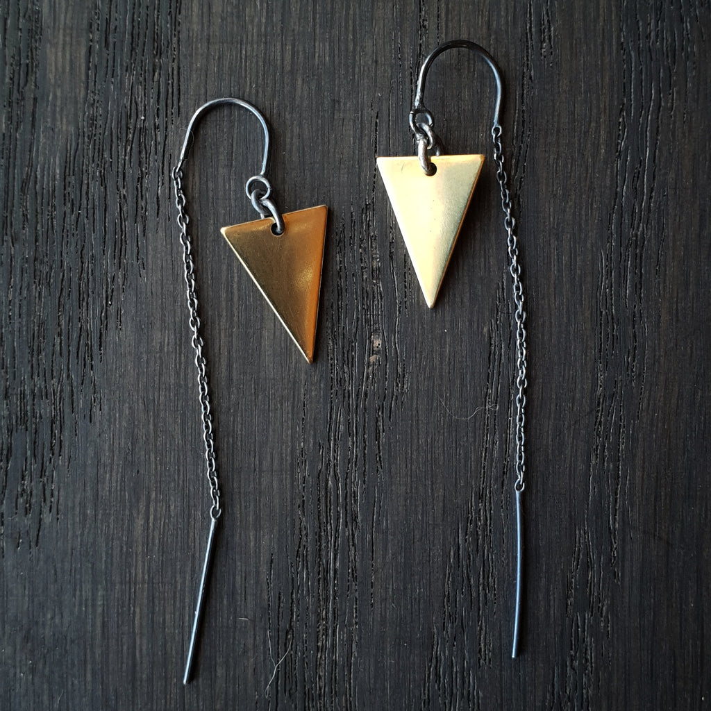 Emily Eliza Arlotte Handcrafted Fine Jewellery - Handmade Australian Tasmanian Jewelry Ethically Made Sustainable Recycled Sterling Silver Brass Thread Chain Threader Triangle Contemporary Dainty Statement Unique Trendy Modern Necklace Boho Bohemian Gypsy Witchy Alternative Style Festival Fashion