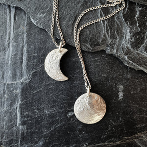 Emily Eliza Arlotte Handcrafted Fine Jewellery - Handmade Australian Tasmanian Jewelry Ethically Made Sustainable Recycled Sterling Silver Reticulated Moon Necklace Pendant Contemporary Chunky Statement Unique Trendy Modern Necklace Boho Bohemian Gypsy Witchy Alternative Style Festival Fashion