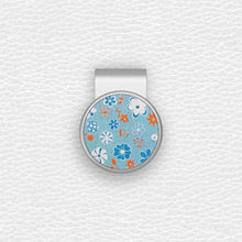Load image into Gallery viewer, Blue Floral Pattern - Silver Clip - birdea golf ball marker