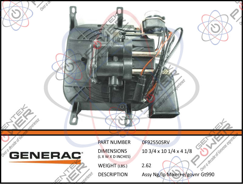 Generac 0F92550SRV Mixer Assembly w/ Stepper Motor & Choke Replaces 0G1163  For 5200 Series Air Cooled