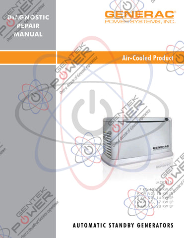 Generac Air Cooled 2008 Model Pre-Nexus Service & Repair Diagnostic Manual