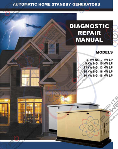 Generac Air Cooled 5200 (5240, 5241, 5242, 5243) Series Service & Repair Diagnostic Manual