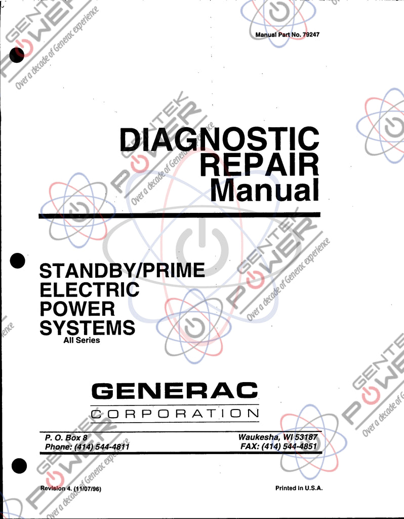 Generac Commercial/Industrial Diagnostic Service Manual