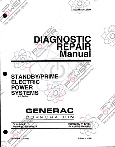 Generac Commercial/Industrial Diagnostic Service Manual Post 1986 Units