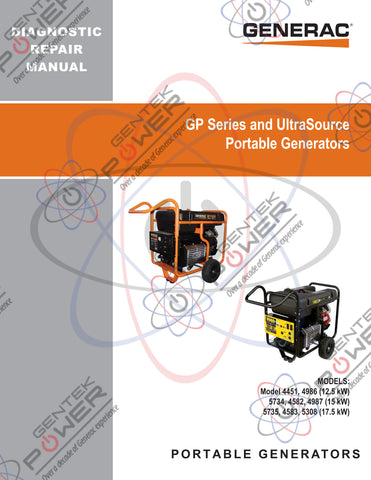 Generac GP & UltraSource 12.5/15/17.5kW Service & Repair Diagnostic Manual