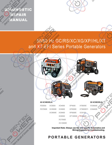 Generac Portable XT/XT-EFI/XC/XG/GC/RS/HL Series Service & Repair Diagnostic Manual