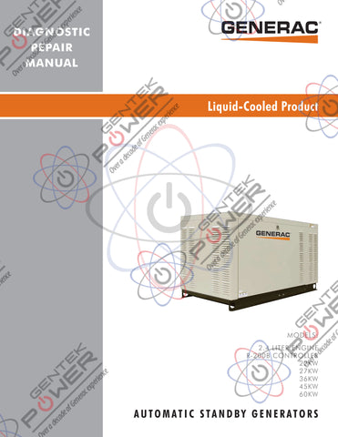 Generac 2.4L Mitsubishi R-200B Controller Liquid Cooled Service & Repair Diagnostic Manual