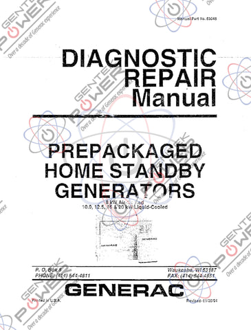 Generac Vintage Air Cooled 8kW & Liquid Cooled 1.2L 12.5kW, 16kW, 20kW Diagnostic Repair Manual