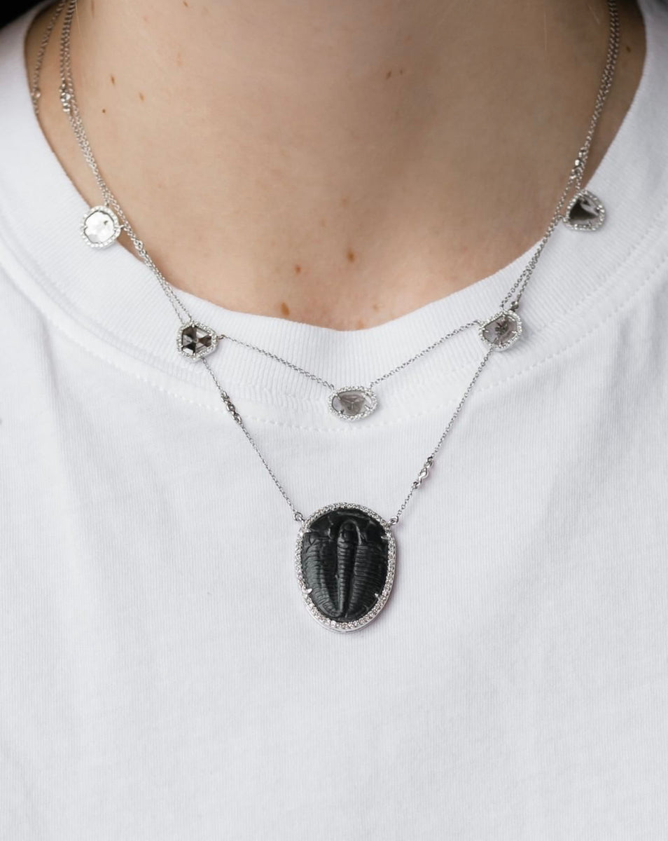 Fossilized Trilobite Necklace White Gold