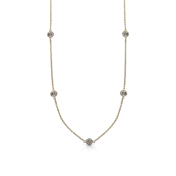 14k Yellow Gold Dainty Diamond Necklace