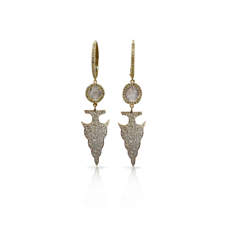 14k Gold Arrowhead Drop Earrings