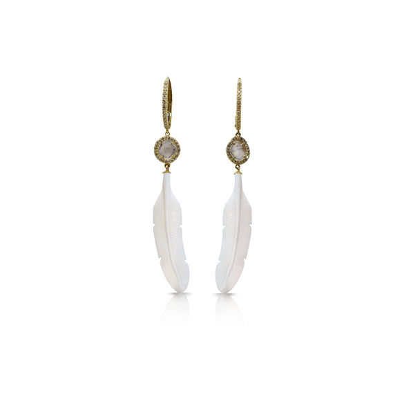 14k Diamond White Bone Feather Earrings