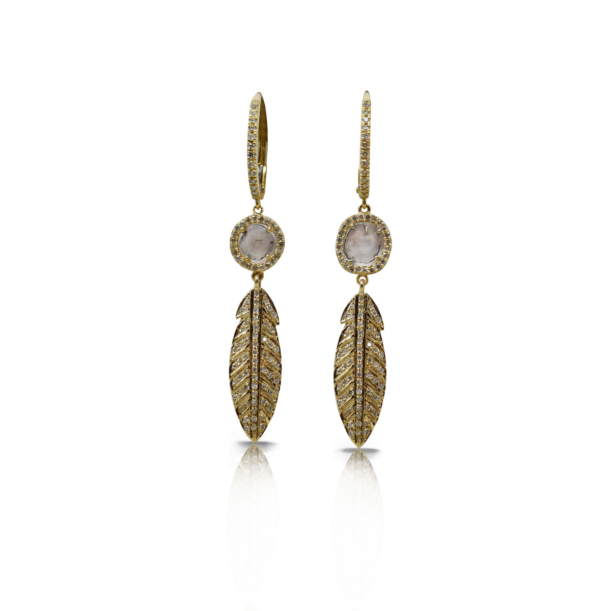 14k Gold Feather Drop Earrings