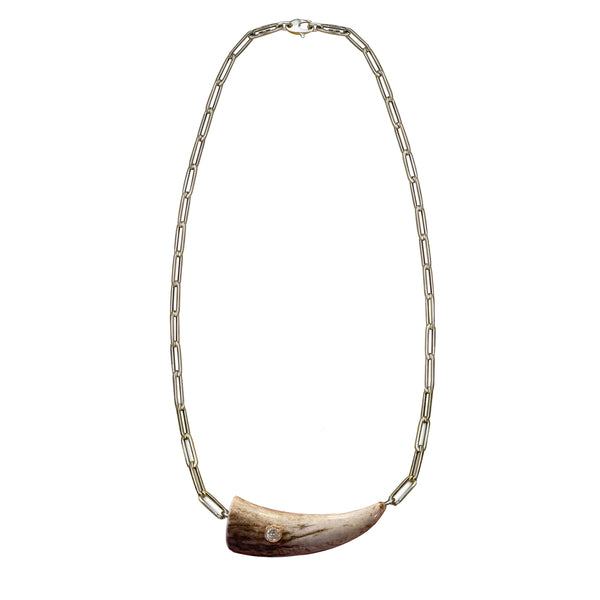 14k Gold Elk Tip Necklace