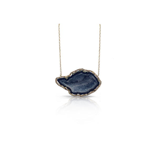 14k Yellow Gold Diamond Druzy Necklace