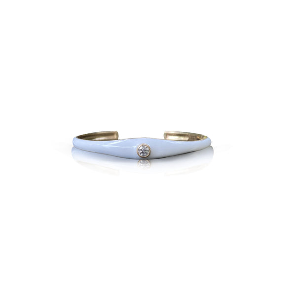 14k Yellow Gold White Enamel