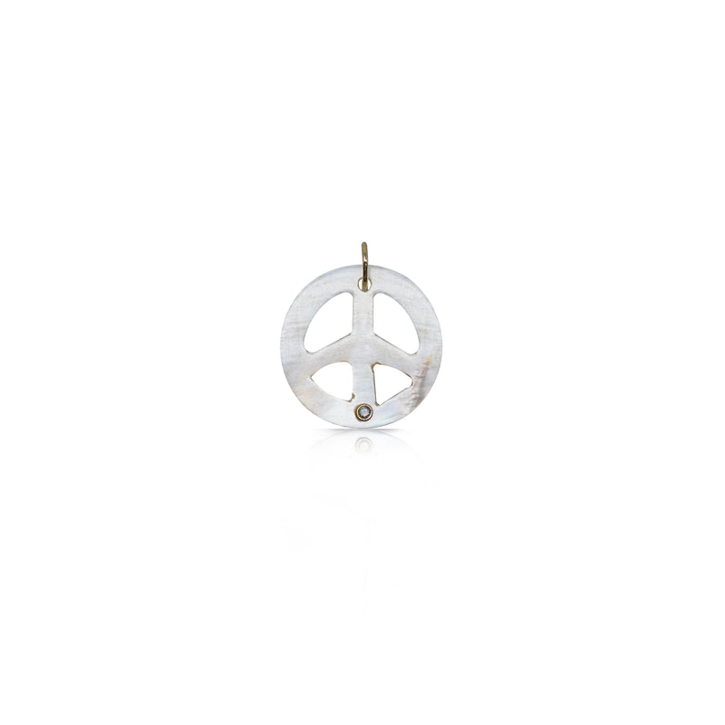 Mother of Pearl Peace Sign Charm