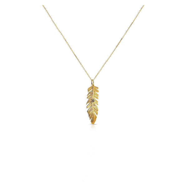 14k Bezel Set Feather Necklace