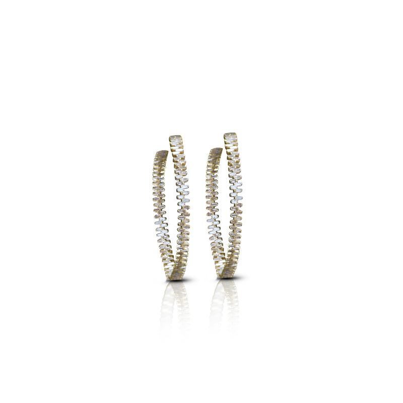 18K Baguette Diamond Hoops
