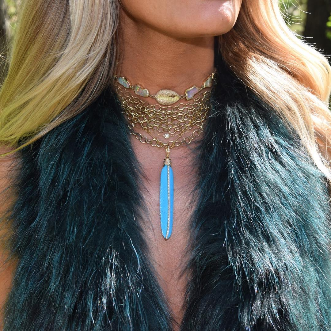 Gold + Turquoise Feather Pendant