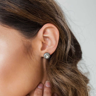Sliced Diamond + Pave Stud Earrings
