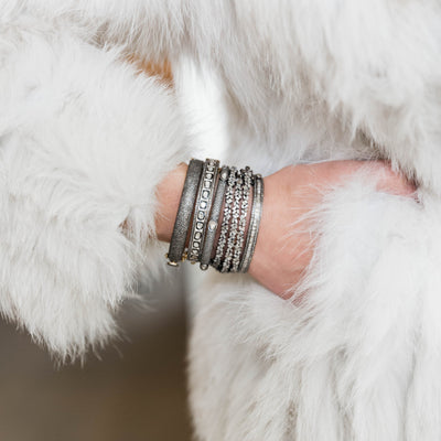 Baguette + Pave Diamond Bangle