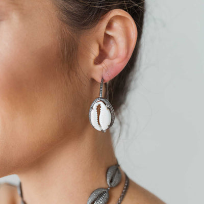 Cowrie Shell Hoops
