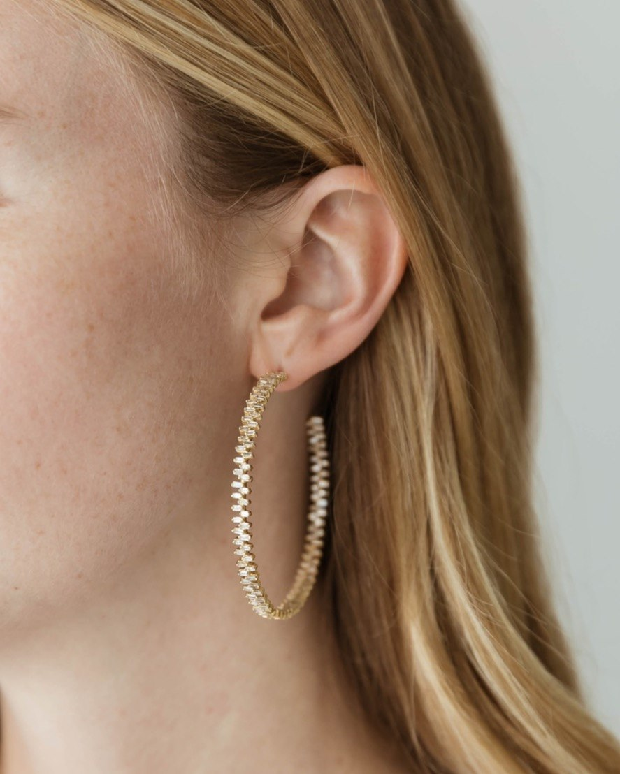14K Baguette Diamond Hoops