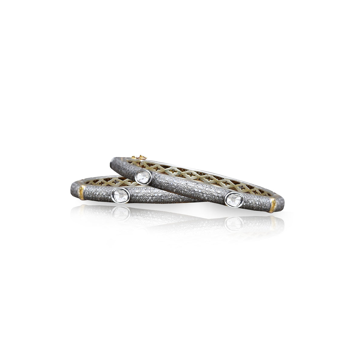 Pave + 6 Sliced Diamond Bangle