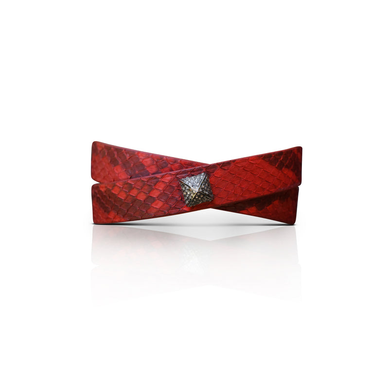 Red Python Double Wrap Bracelet