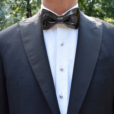 Finn|Carter Black Crocodile Bow Tie
