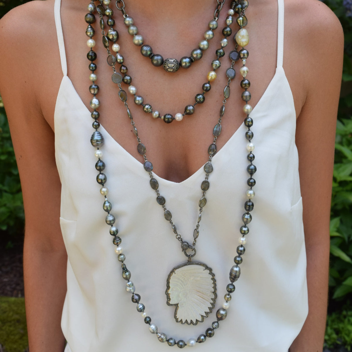 Long Tahitian Pearl Necklace with Clasp