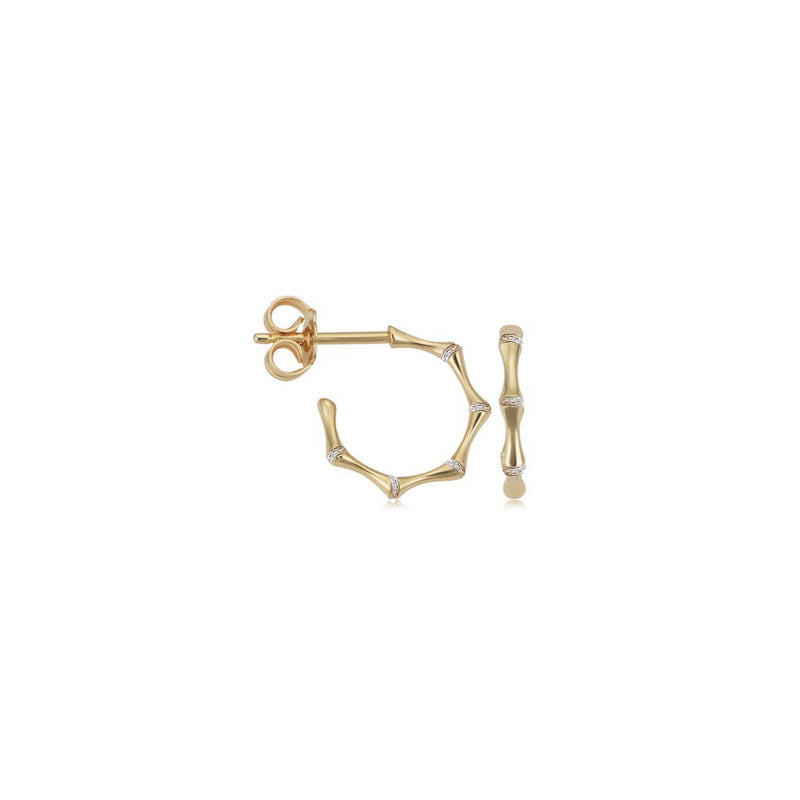 14k Diamond Bamboo Hoops