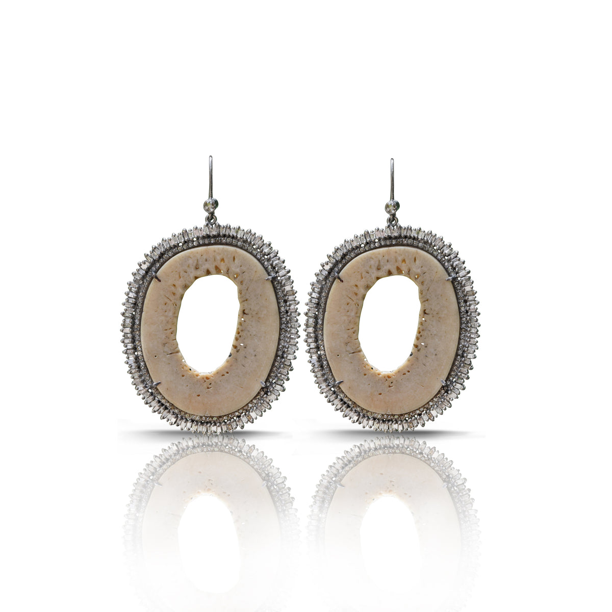 Fossilized Oosik Diamond Earrings