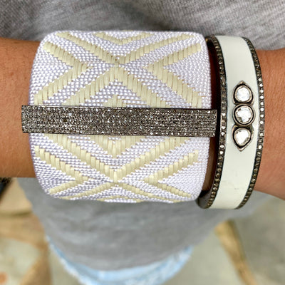 Large Woven Cuff White