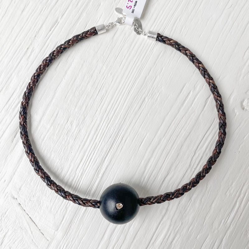Wood Rosecut Bead Leather Necklace