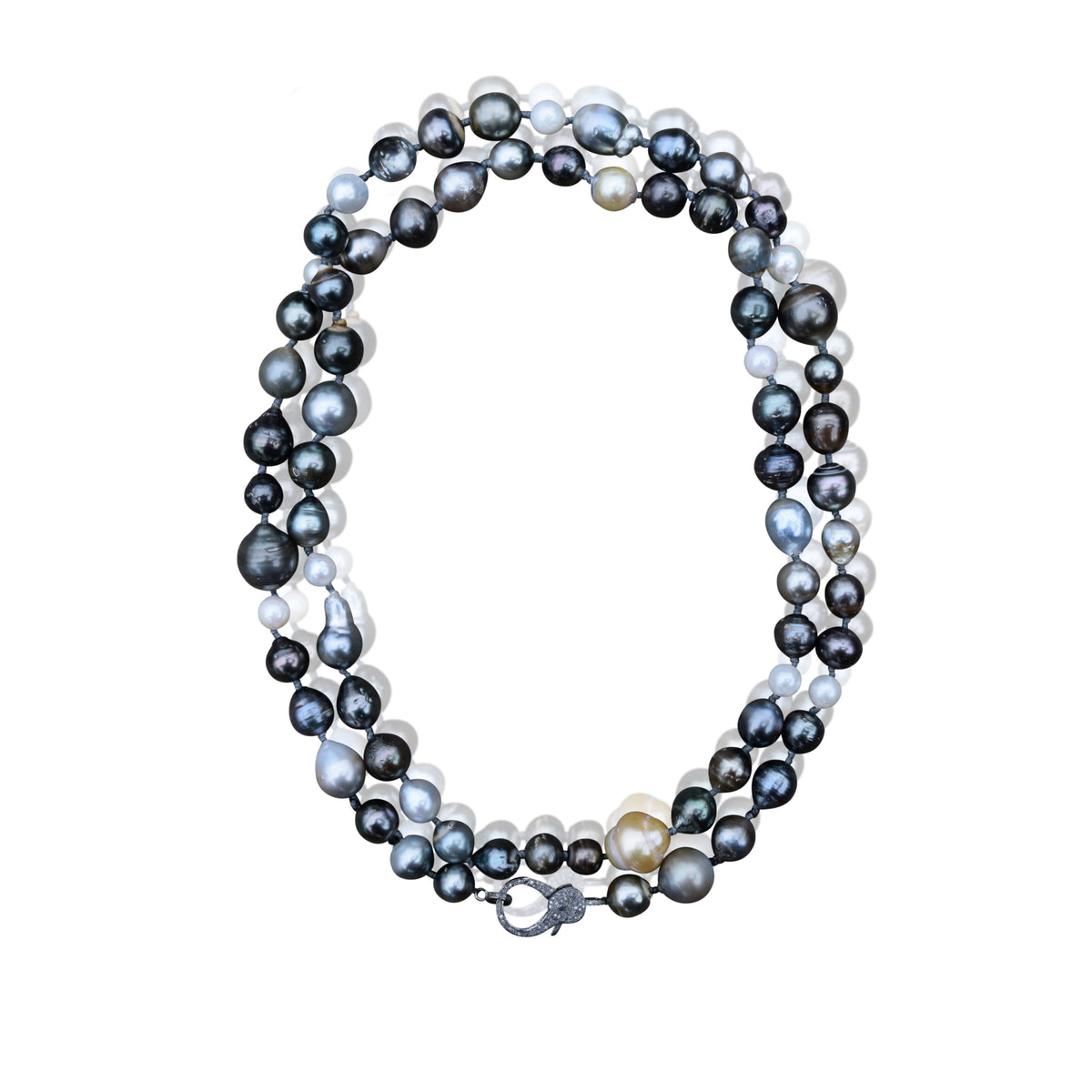 Short Tahitian Pearl Necklace with Clasp