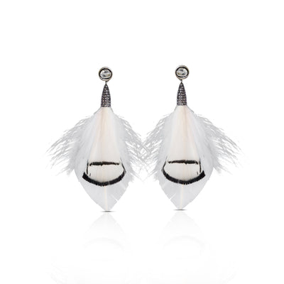 White Natural Feather Earrings