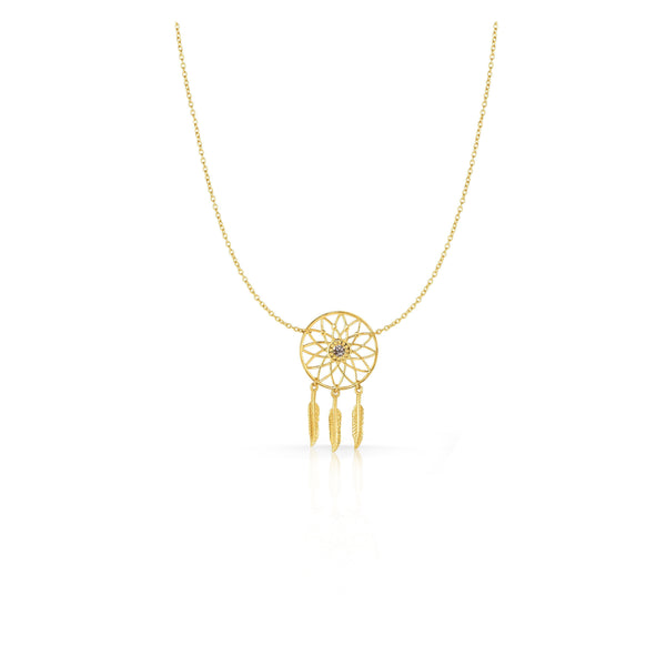 14k Dream Catcher Necklace