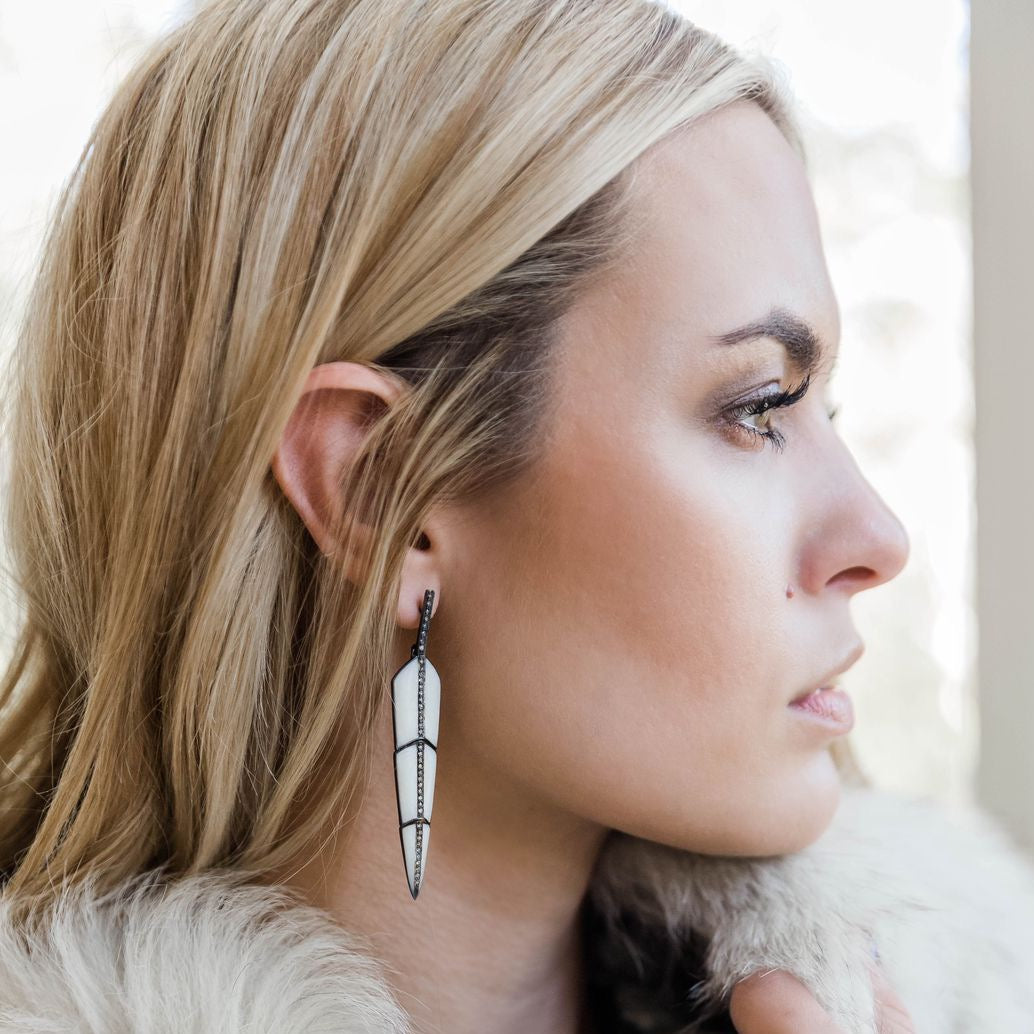 Pearl White Enamel Feather Earrings