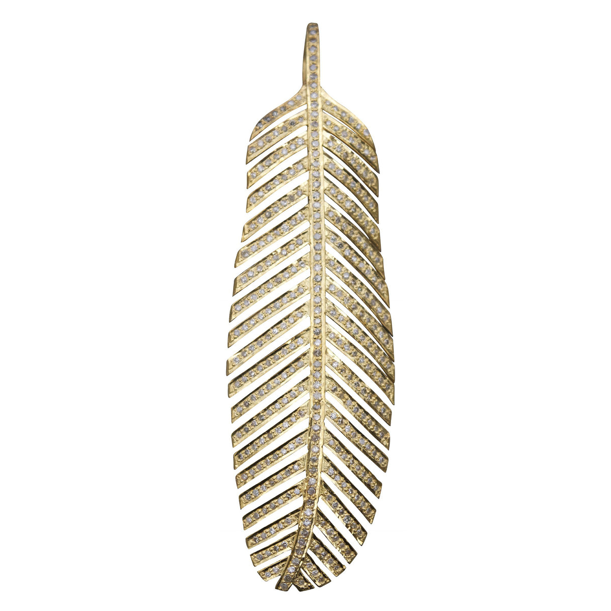 Large Diamond Feather Pendant