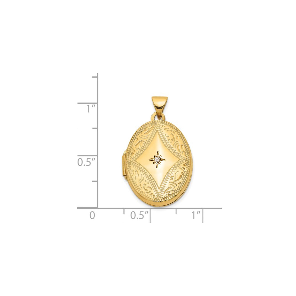14k Oval Engraved Locket