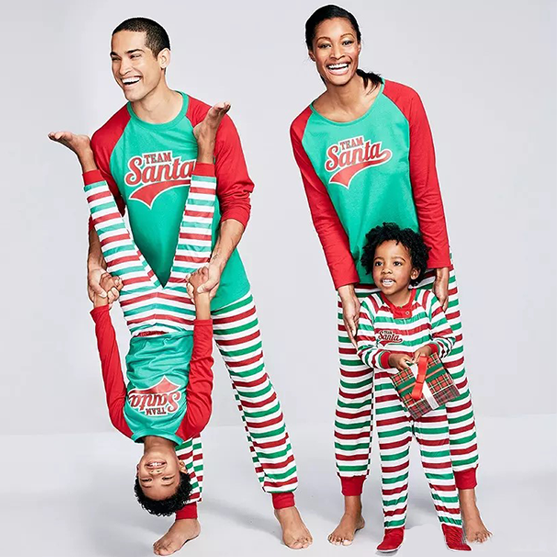 Christmas Family Matching Pajamas Letter Print Top And Stripes Pants ... be25dc039