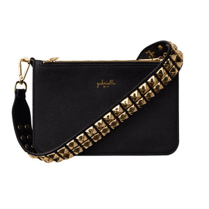 vegan black bag with golden rivets shoulder strap gabrielle by p