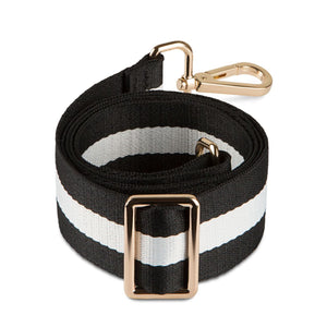 Adjustable Woven Bag Strap black and white - Gabriellebyp